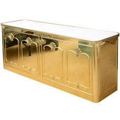 Signed Mastercraft Polished Brass and White Lacquered Buffet | From a unique collection of antique and modern buffets at http://www.1stdibs.com/furniture/storage-case-pieces/buffets/