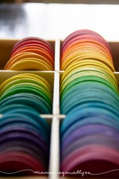 I just finished up a huge set of wooden rainbow loose part toys for little lady to explore and create with. I& got tips, tricks and advice for your DIY set! Reggio Emilia, Diy Montessori Toys, Grimms Rainbow, Diy Wood Stain, Wooden Rainbow, Homemade Toys, Homemade Gifts, Waldorf Toys, Toddler Play