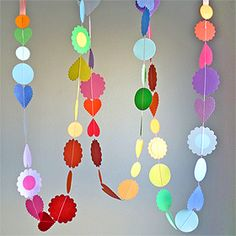 Paper-punch garland.  Made in rainbow colors for birthday. Lovely and easy!