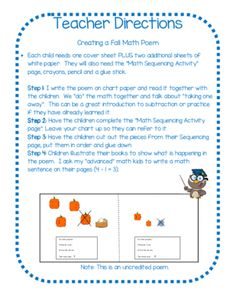 "Ten Little Pumpkins Creating a Fall Math Poem Activity from TheWisestOwl on TeachersNotebook.com -  - Students ""subtract one"" to solve each verse of this adorable math poem. Then they cut out the verses and sequence them to create a super cute Fall Math Poem Book."