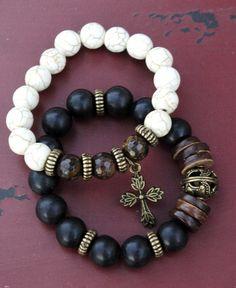 Handmade gemstone bracelet set black onyx by chicsistersdesigns