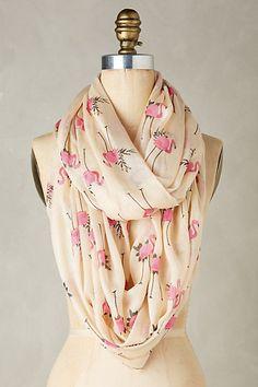 Flamingo Infinity Scarf  - love this flamingo pattern #anthropologie