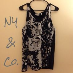 Ruffled Floral Tank Top Gorgeous top from New York & Co. Back of tank is a black stretch material, very comfortable, great for dressing up - from the office to dinner. New York & Company Tops Tank Tops
