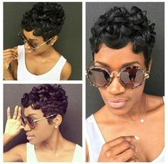 50 large short hairstyles for black women Short Sassy Hair, Short Hair Cuts, Short Wavy, Pixie Cuts, Relaxed Hair, Love Hair, Gorgeous Hair, Curly Hair Styles, Natural Hair Styles