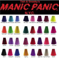 manic panic colour chart: Manic panic s vivid hair color chart hair down to there