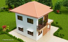 Elisa – Four Bedroom Compact Two Storey House Design | Pinoy ePlans 2 Story House Design, House Front Design, Small House Design, Two Storey House Plans, My House Plans, Colonial, Small Modern House Plans, House Construction Plan, Modern Bungalow House