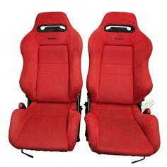 Pair of JDM red Recaro front seats EK9 - JDM States, LLC