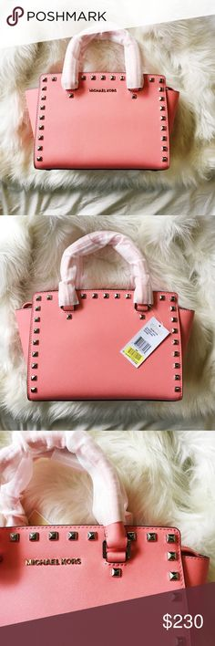 """Michael Kors Medium Selma Studded Satchel Color is called coral. Brand new with tags with proof of purchase sticker from Dillard's. Retails for $328 before tax.  From MICHAEL Michael Kors, the Selma satchel features: leather metal studs silver-tone hardware top zip closure 3 pockets, zip pocket, 3 cell phone pocket and key fob lanyard inside double handles removable shoulder strap approx. 13"""" x 8"""" x 5.5""""; 4"""" handle drop Imported. MICHAEL Michael Kors Bags Satchels"""