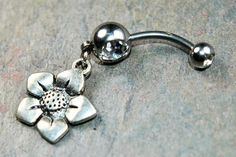 Flower Belly Ring Choose Color CZ Double Gem Body Jewelry 14g 14 gauge 316L Stainless Surgical Steel Dangle Charm Navel Piercing Silver by BodyJewelryEnvy