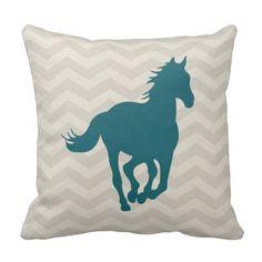 Horse Chevron Pattern Teal Green Grey Cream Throw Pillow