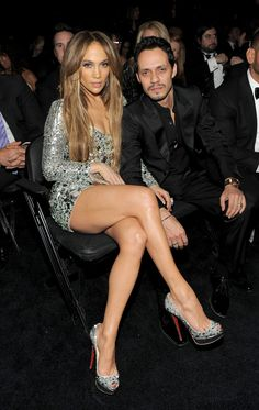 Jennifer Lopez Photos - Actress Jennifer Lopez and singer Marc Anthony attend The Annual GRAMMY Awards held at Staples Center on February 2011 in Los Angeles, California. - The Annual GRAMMY Awards - Roaming Inside Jennifer Lopez Marc Anthony, J Lopez, Jennifer Lopez Photos, Sparkly Shoes, Lovely Legs, In Pantyhose, Celebs, Celebrities, Celebrity Couples