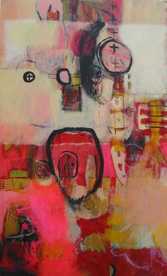 Beeldend Kunstenaar - Love the bright pinks in this abstract painting. Art Journal Inspiration, Painting Inspiration, Abstract Expressionism, Abstract Art, Modern Art, Contemporary Art, Love Art, Amazing Art, Collage
