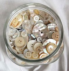 Buttons in a jar make me happy!  My grandmother has a button jar and I've always had one.