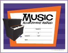 Free Printable General Music Award Certificates  Makingmusicfun