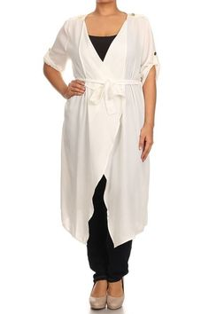 New Plus Size Winter White Sheer Belted Cardigan Size 2X #FabulouslyDressedBoutique