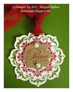 handmade tags from Fun Stampin' with Margaret!: Daydream Medallions & Floral Frames Tags ... red and green inking on vanilla ... gold paper center ... Stampin' Up! ...