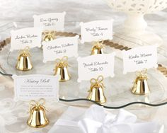 Gold Kissing Bells Place Card/Photo Holder