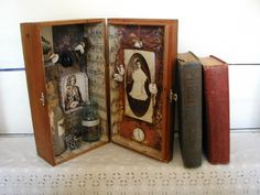 Shadowbox Art  Altered Vintage Wood Cigar Box Original. $95.00, via Etsy.