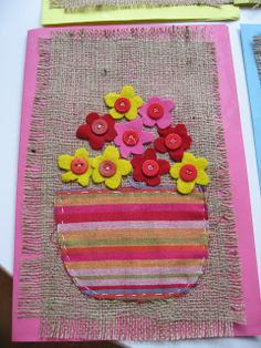 Mother's day card with material Sewing Projects For Kids, Sewing For Kids, Sewing Crafts, Spring Arts And Crafts, Summer Crafts For Kids, Weaving Projects, Camping Crafts, Mothers Day Crafts, Elementary Art