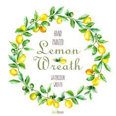 Lemon Wreath Watercolor. Hand painting fruit art, kitchen, food wall art. Digital png, DIY invites, scrapbooking. Yellow summer fruits