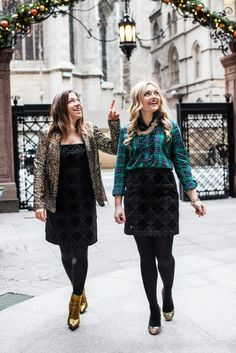 Festive Holiday Outfits with Sequins and Plaid