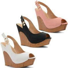 f760b914e445 New Ladies High Wedge Heel Peep Toe Slingback Buckle Sandals Shoes Size UK  3-8  Amazon.co.uk  Shoes   Bags