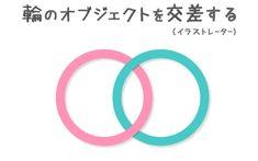 イラストレーターで輪のオブジェクトを交差する方法
