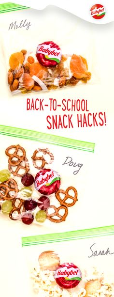 Want to add a fun touch to your students' first day of school? Try these adorable welcome bags. Just add Mini Babybel cheese to any snack pairing for a smile-inducing introduction to the classroom. Healthy Kids, Healthy Snacks, Healthy Eating, Healthy Recipes, Kids Lunch For School, After School Snacks, Prepped Lunches, Work Lunches, School Lunches
