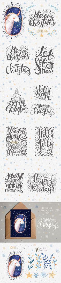 typografische kerst art-print met een kerstboom van ...