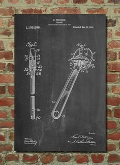 Crecent Wrench Patent Art Print, Patent Art, Blueprint, Patent Print, PatentPrints