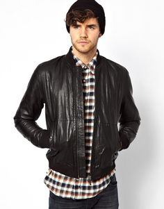Black Leather Bomber Jacket by Nudie Jeans. Buy for $705 from Asos