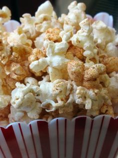Sweet Chili Popcorn    Mix together 3 T. powdered sugar, 1/2 tsp. cinnamon, 1 T. chili powder, 1/2 tsp Kosher salt, and 1 1/2 tsp paprika. Store in airtight container. To 3 quarts popcorn or one bag of microwave popcorn, toss 2 1/2 T. dry mix. Toss until all popcorn is coated. This one was my favorite.
