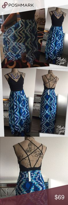 Brand New Mustard Seed blue strappy dress 👗 Brand New from Boutique.  Beautiful strappy dress perfect for this summer season coming up.  Two available a small an a medium.  Material 100% polyester and the lining is 100% polyester.  No trades. Mustard Seed Dresses Maxi