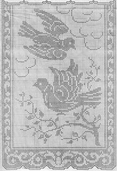 Kira scheme crochet: Curtain with birds