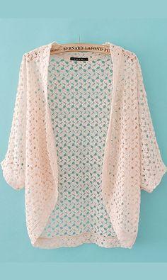 Jacquard hollow-out batwing sleeve knit cardigan pink
