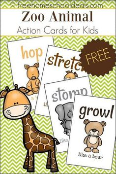 zoo animals This is a post by Free Homeschool Deals contributor, Tara at Homeschool Preschool. I have yet to meet a child that doesnt love animals. Farm animals, zoo an Zoo Preschool, Preschool Activities, Kindergarten, Zoo Animal Activities, Animal Themes, Animal Action, Animal Attack, Action Cards, In The Zoo