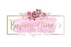 Diseño de logotipo de flores acuarela DIGITAL rosa flores