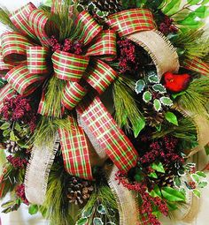 XL Christmas EXPRESS Door or Wall Wreath with by LadybugWreaths, $119.97.  Wild & Woodsy Christmas Door Wreath with red plaid ribbon and beautiful burlap ribbon.  Red berries, holly, and a gorgeous red bird adorn this one! http://www.ladybugWreaths.com