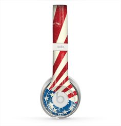 The Vintage Tan American Flag Skin for the Beats by Dre Solo 2 Headphones from Design Skinz, INC.