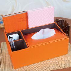multi-functional orange color leather tissue box cover holder