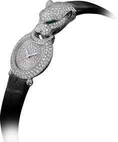Panthère Captive de Cartier watchSmall model, rhodiumized 18K white gold, leather, onyx, diamonds