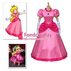 Free Shipping Disney Super Mario Bros Dress Peach Princess Dress Cosplay Costume…