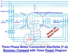 3 Phase Motor Connection Star/Delta (Y-Δ) Reverse / Forward with Timer Power Diagram