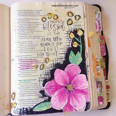 (Psalm 40:1-5 MSG) #valeriedoodlesthebible #illustratedfaith Bible journaling.