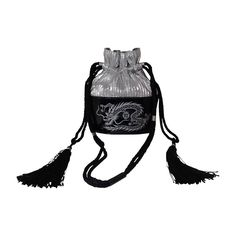 1980s Kansai Yamamoto Patent Leather and Silver Lame Dragon Draw String Bag | From a collection of rare vintage evening bags and minaudières at https://www.1stdibs.com/fashion/handbags-purses-bags/evening-bags-minaudieres/