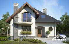 Pin on house front elevation Brick House Designs, Bungalow House Design, House Front Design, Small House Design, Modern House Design, Home Building Design, Building A House, Tuscany Homes, Model House Plan