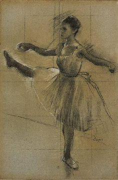 Edgar Degas - Dancer (Battement in Second Position) Charcoal heightened with white and pale yellow pastel on gray-brown laid paper