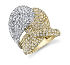 Diamonds set in white and yellow gold