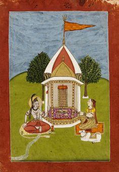 Shiva, Parvati and Nandi. Mughal Empire, Murshidabad, India.(probably: Murshidabad sub-style, made) Date: ca. 1760 - ca. 1770. Best view (click and enlarge): http://media.vam.ac.uk/collections/img/2013/GD/2013GD6795_2500.jpg