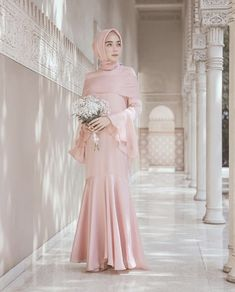 dress by 🍂 Prom Dresses Long Pink, Prom Dresses With Pockets, Trendy Dresses, Fashion Dresses, Hijab Fashion, Bridesmaid Dresses, Hijab Dress Party, Hijab Style Dress, Kebaya Modern Dress